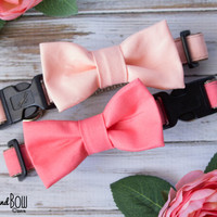 Peach Dog Collar with Optional Leash, Removable Bow Tie, or Flower