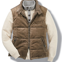Italian Quilted Suede & Wool Vest