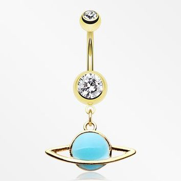 Golden Glow in the Dark Planet Belly Button Ring