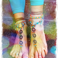 Festival BAREFOOT BOHEMIAN WEDDING sandals crochet Anklets crochet Sandals Statement shoes sole less shoes crochet anklets antique flowers