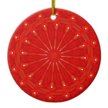 Festive Chic Bright Red Kaleidoscope Design Ceramic Ornament