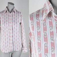 SALE Vintage 70s Shirt / 1970s Novelty Lady Print Striped Button Up Shirt XS S
