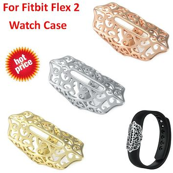 Hot Watch Cover Case For Fitbit Flex 2 Band Accessory Metal Sleeve Protector Cover For Fitbit Flex 2 Case Strap Steel Ornament