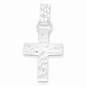 Sterling Silver Hammered Latin Cross Pendant