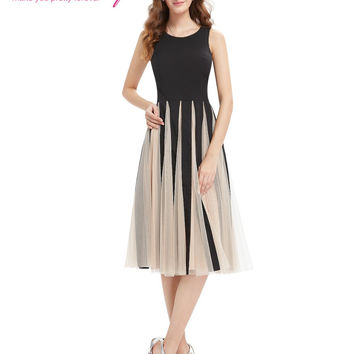 New Fashion Cocktail Party Dress Ever Pretty AS05403 2016 Simple Black Round Neck Tea Length Dress Cocktail Dresses