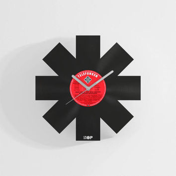 Red Hot Chili Peppers wall clock from upcycled vinyl record (LP) | Hand-made gift for RHCP fan | RHCP home wall decoration, gift, present