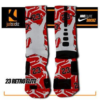 23 RETRO Custom Nike Hyper Elite Socks basketball chicago bulls jordan red black