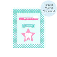 Kids Bathroom Decor: Pink and Blue Star