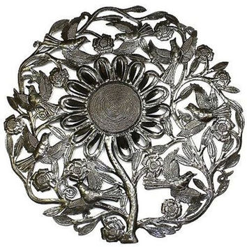 Handmade Sunflower and Birds Metal Wall Hanging Art 24-inch Diameter