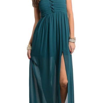 Be My Sweetheart Maxi Dress - Teal