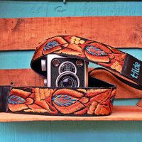 Leather camera strap with traditional Guatemalan embroidery - Tulipanes (Tulips) in Brown, Tan, Turquoise