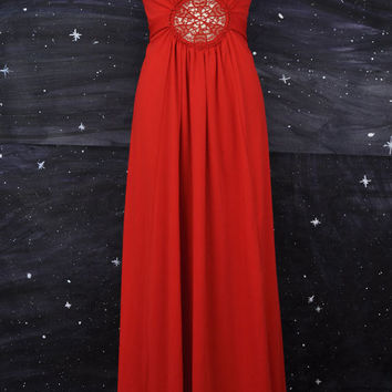 70s Red Glam Disco Hollywood Maxi Dress M  L by SpaceCatsShop