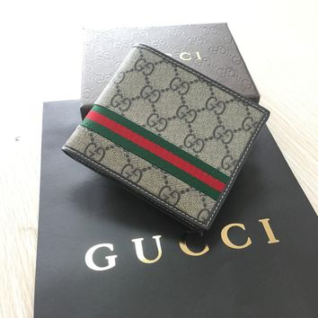 One-nice™ New Men's Gucci Guccissima Leather WEB Bifold Wallet Brown FREE SHIPPING