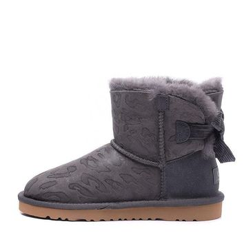 ESBON UGG 1006058 Bowknot Leopard Women Fashion Casual Wool Winter Snow Boots Grey