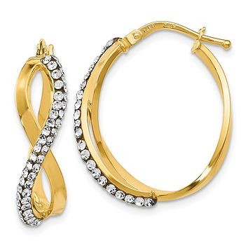 Crossover Hoops in 14k Yellow Gold with Swarovski Crystals, 22mm