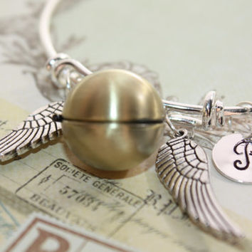 Harry Potter Golden Snitch Locket - Bangle Bracelet Personalized