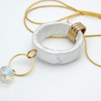 Wedding ,Gold Necklace with white Satin Hoop and clear Swarovski Crystal,Modern Unique Design