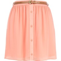 Coral button up belted mini skirt - skirts - sale - women