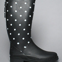 The Roxette Rain Boot in Black and White Polka Dot