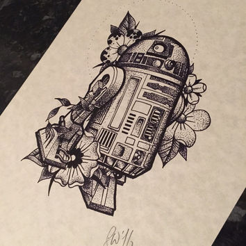 Fine line dotwork, Star Wars inspired dotwork R2-D2 - A4 framed print. R2D2. (Not tattoo flash)