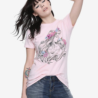 Disney Sleeping Beauty Floral Sketch Girls T-Shirt