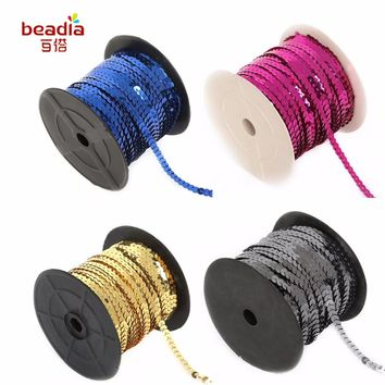 New Fashion Mix Color 100 Yards/Roll 6mm Loose Diameter Round Flat Sequins Sewing On Trims For Crafts/Pillow/Cloth Accessories