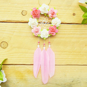 Pink Flower Car Dreamcatcher: Rearview Mirror Accessory, Boho Car Decor, Interior Car Accessory for Women, Boho Gift, Boho Dreamcatcher