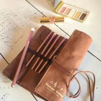 Unforsaken Dreams Canvas Makeup Brush Roll-Up Case/Organizer in Coffee | Sincerely Sweet Boutique