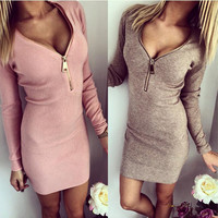 S-XL Winter Rib Material V Neck Sexy Dress Women Casual Full Sleeve Party Dresses Plus Size Zipper Up Work Dress Vestido