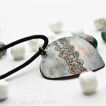 Valentines day HEART necklace, Heart beat necklace handmade copper necklace,  valentine's day gifts jewelry by Serendipity