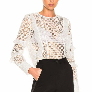 White Ruffled Long Sleeve Lace Blouse