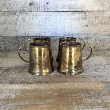 Brass Mugs 4 Brass Tankards Brass Beer Mugs Brass Drinking Glasses Brass Cups Brass Barware Mid Century Barware Ale Mugs