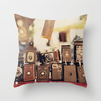 Old Cameras (Vintage and Retro Film Cameras Collection) Throw Pillow by Andrea Caroline