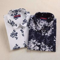 Womens Shirts Long-Sleeve Floral Womens Tops