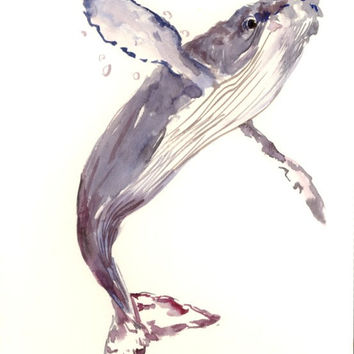 Humpback Whale Painting, original watercolor painting, 12x 9 in, whale art, ocean sea wrold animal art