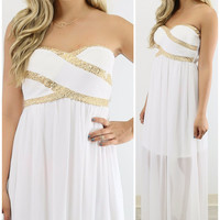 Ritzy Romance White & Gold Sequin Maxi Cocktail Dress