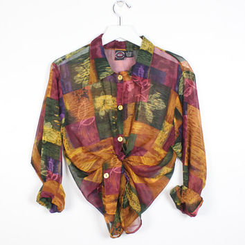 c52882f1 Vintage 1990s SHEER Floral Patchwork Leaf Print Blouse Button Do. shirt ...
