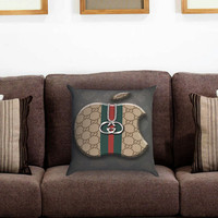 Apple Gucci Pillow Cover , Custom Zippered Pillow Case One Side Two Sides