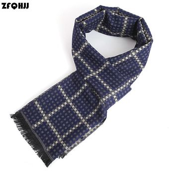 ZFQHJJ 2017 Luxury British Style Mens Winter Scarf Plaid Cashmere Scarves Wool Long Business Wraps Shawl with tassels 180x30cm