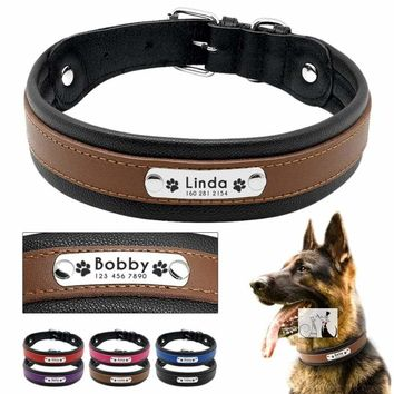 Large Personalized Leather Collar