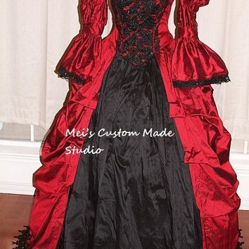 Victorian Steampunk Fairytale Masquerade Couture Silk Fantasy Bustle Gown/Gothic Wedding Gown