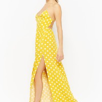 Polka Dot Lace-Up Maxi Dress