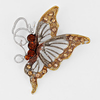 Crystal Accented Butterfly Brooch / Pendant