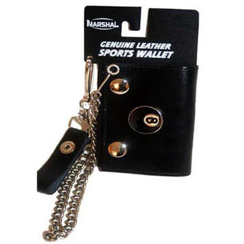 Genuine Leather 8 Ball Logo Trifold Biker's Wallet ID Card Holder w/ Chain 1046-10 (C)