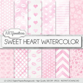 "Digital Love Paper ""SWEET HEART WATERCOLOR"" heart patterns, watercolor texture, pink backgrounds, sweet kisses, Valentines Day, pink hearts"