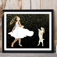 Girl dancing Nursery wall decor Dog print Puppy print Girl with dog Modern art Minimalist printable White lace dress Girly gift Dog art