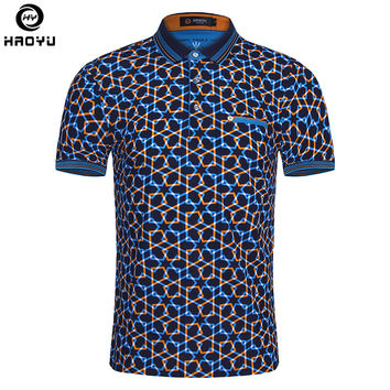 Summer Fashion Men Polo Shirt Short Sleeve Geometric Pattern Slim Shirt For Men Shirts Polo