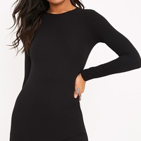 Idda Black Long Sleeve Wrap Skirt Bodycon Dress