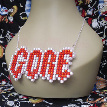 GORE Creepy Word Necklace - Spooky & Sparkly Halloween Horror Jewellery - Red and Silver or Your Custom Crystal Colours - Psychobilly