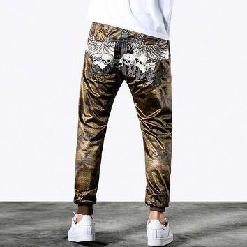 Camouflage breathable mesh pants mens casual thin skull harem pants for men embroidery